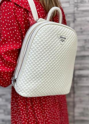 Белый стеганый рюкзак 2в1