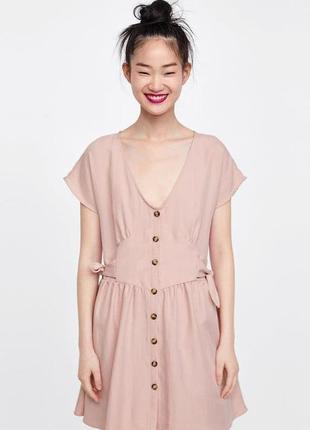 Розовое платье на пуговицах zara
