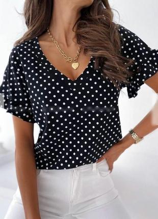 Женская блуза, нарядная блуза, блуза в горошек