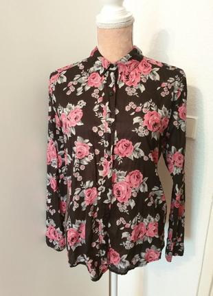 Рубашка в розы блузка в цветочный принт рубашка в розы от h&m