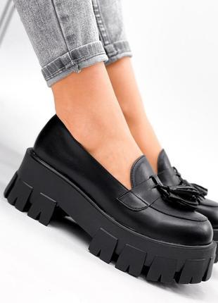 Туфли-броги женские gesmí черные натуральная кожа