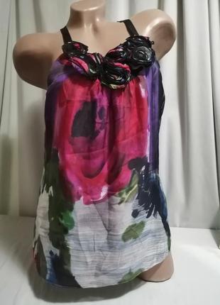 Шелковая блуза принт цветы