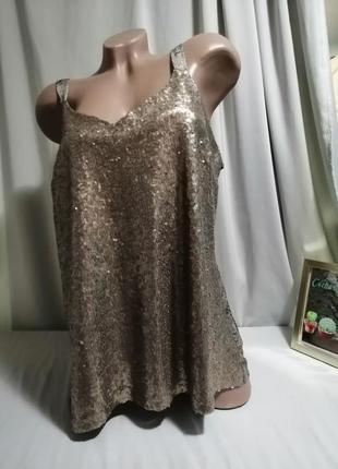 Комбинированая майка блуза принт с паетками