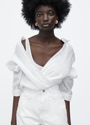 Льняная рубашка белая zara, размер xs