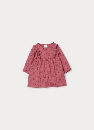 Симпатична трикотажна сукня з довгим рукавом кролики нм для дівчинки