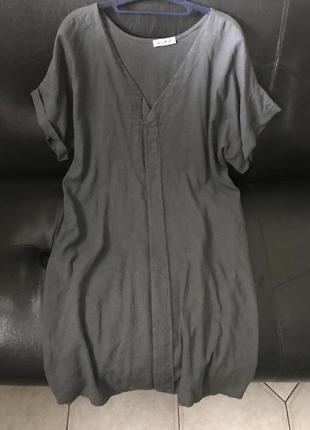 Льняное платье -бохо стиль  графитового цвета