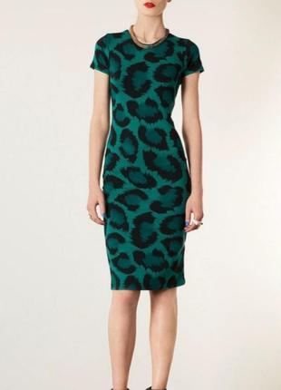 Платье topshop облегающее сукня плаття анималистичный принт оголенная спинка спина вырез миди бодикон bodycon