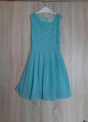 Бирюзовое платье с цветами сукня плаття на хлопке