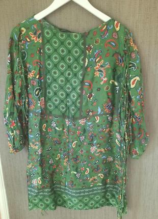Zara шовкова сукня з бахромою принт пейслі