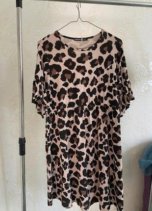 Платья миди свободного фасоне в тигровый леопардовой принт