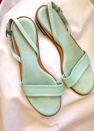 Jil sander кожаные мятные сандалии/босоножки
