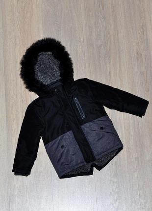 Стильная парка primark 18-24 мес. демисезонная куртка демісезона тепла теплая курточка на меху классная модная для мальчика 1,5-2 года