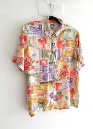 Винтажная акварельная блуза с жемчужными пуговицами стиль max mara sandro