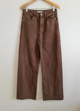 Широкие коричневые джинсы zara