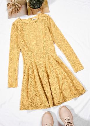 Горчичное платье кружевное, осеннее платье солнце клеш, сукня, плаття