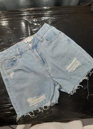 Шорты джинс деним голубые джинсы джинсовые рваные короткие