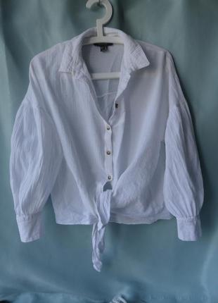 Белоснежная рубашка на завязках с пышными рукавами 100 % хлопок
