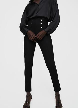 Утягивающие подтягивающие легинсы лосины стрейчевые штаны с высокой талией от zara