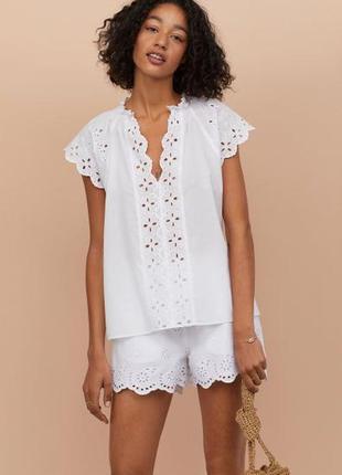 Новая легкая хлопковая блуза h&m, большой размер, батал. размер 54