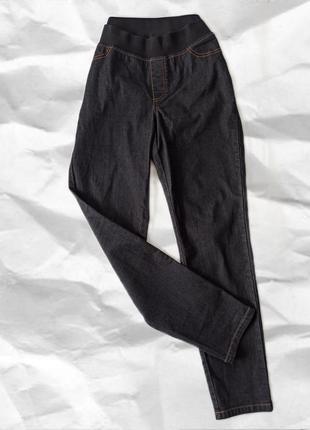 Новые удобные базовые графитовые черные джинсы на резинке нові джинси на резинці  cotton котон