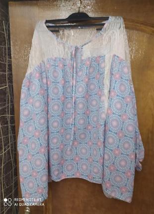Италия мега стильная лёгкая оригинальная блузка оверсайз пог 114см