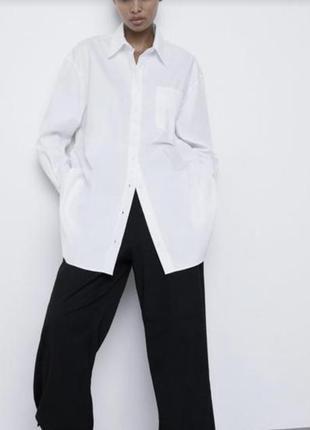 Длинная/белая/базовая/рубашка/зара/с длинным рукавом/