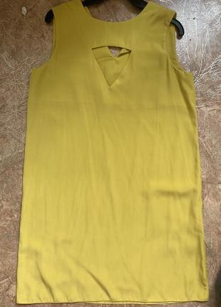 Трапециевидное желтое платье сарафан легкое