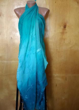 160х103 см воздушное легкое парео палантин накидка пляжная бирюзовая с вышивкой debenhams