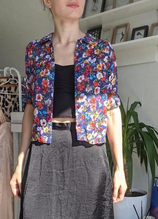 Укороченная рубашка блуза