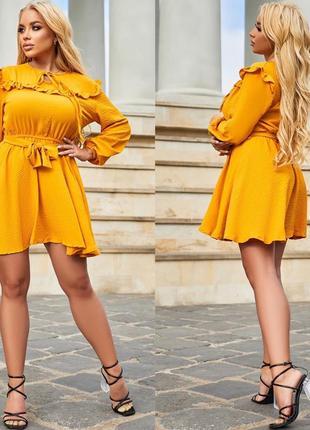 Платье летнее женское короткое мини легкое нарядное желтое