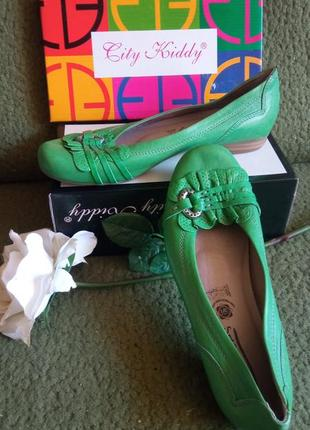 Зелені шкіряні туфлі,фірмові.нові! 42р.португалія