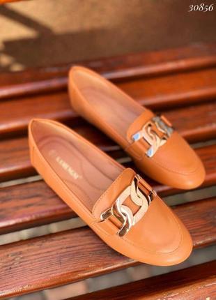 Рр 36-41. рыжие туфли лоферы балетки с цепью
