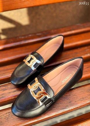 Рр 36-41. чёрные туфли лоферы балетки с цепью