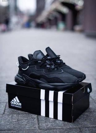 Шикарные мужские кроссовки adidas ozweego black чёрные наложенный платёж