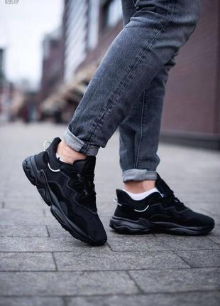Шикарные мужские кроссовки adidas ozweego black чёрные наложенный платёж7 фото