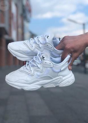 Шикарные мужские кроссовки adidas ozweego white leather наложенный платёж