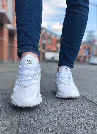 Шикарные мужские кроссовки adidas ozweego white leather наложенный платёж3 фото