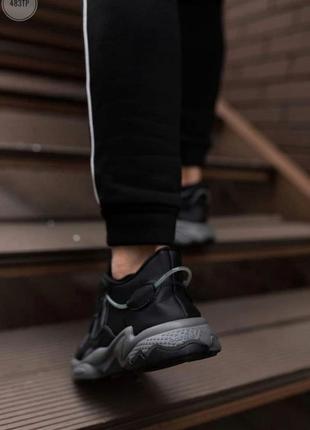 Шикарные мужские кроссовки adidas ozweego black leather наложенный платёж3 фото