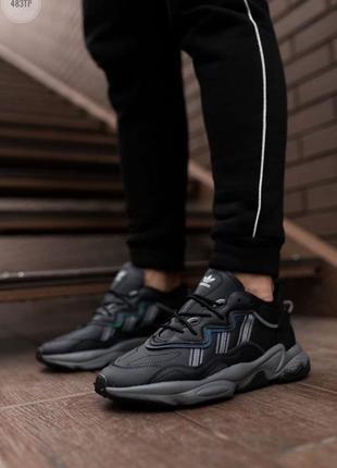 Шикарные мужские кроссовки adidas ozweego black leather наложенный платёж