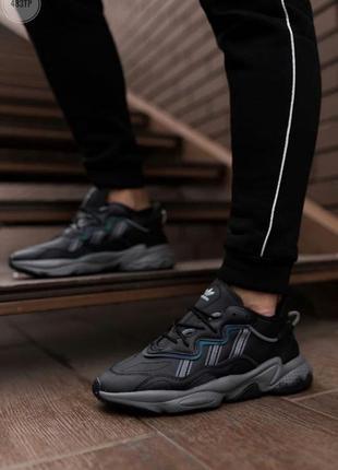 Шикарные мужские кроссовки adidas ozweego black leather наложенный платёж2 фото