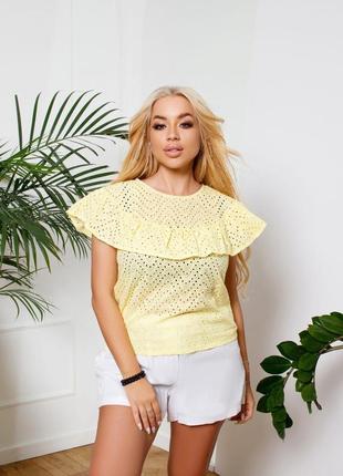 Блузка женская батал летняя свободная легкая дышащая натуральная желтая