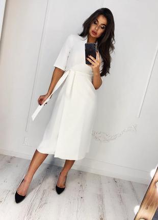Белое платье, вечернее белое платье, платье на роспись, нарядное платье, вечернее платье, платье на запах, платье миди, платье белое, женское платье,