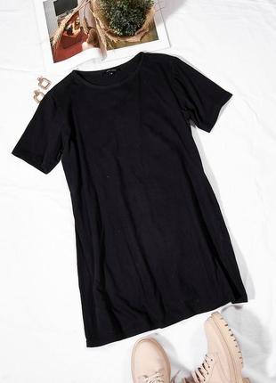 Черное платье-футболка, повседневное платье спортивное, черное платье спорт, сукня