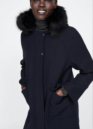 Шерстяное пальто с капюшоном zara оригинал