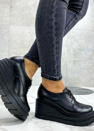 36-40 рр туфли, броги на танкетке черные шнурки натуральная замша/кожа3 фото