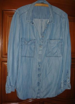 Рубашка блуза женская джинсовая размер 52-54 /20 тонкая голубая