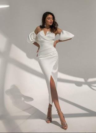 Платье на роспись, вечернее платье, белое платье, вечернее белое платье, свадебное платье, нарядное платье, атласное платье, платье миди