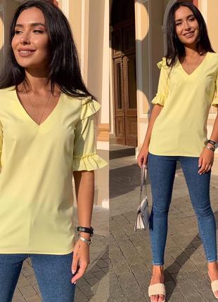Блузка женская батал летняя свободная легкая тонкая белая желтая