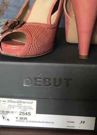 Премиум-бренд. розовые-коралловые  туфли с открытым носком, платформа,  высокий каблук, кожа4 фото