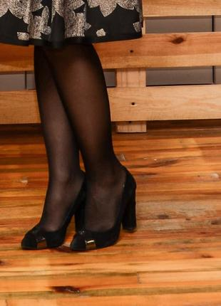 Туфли замшевые черные со стразами